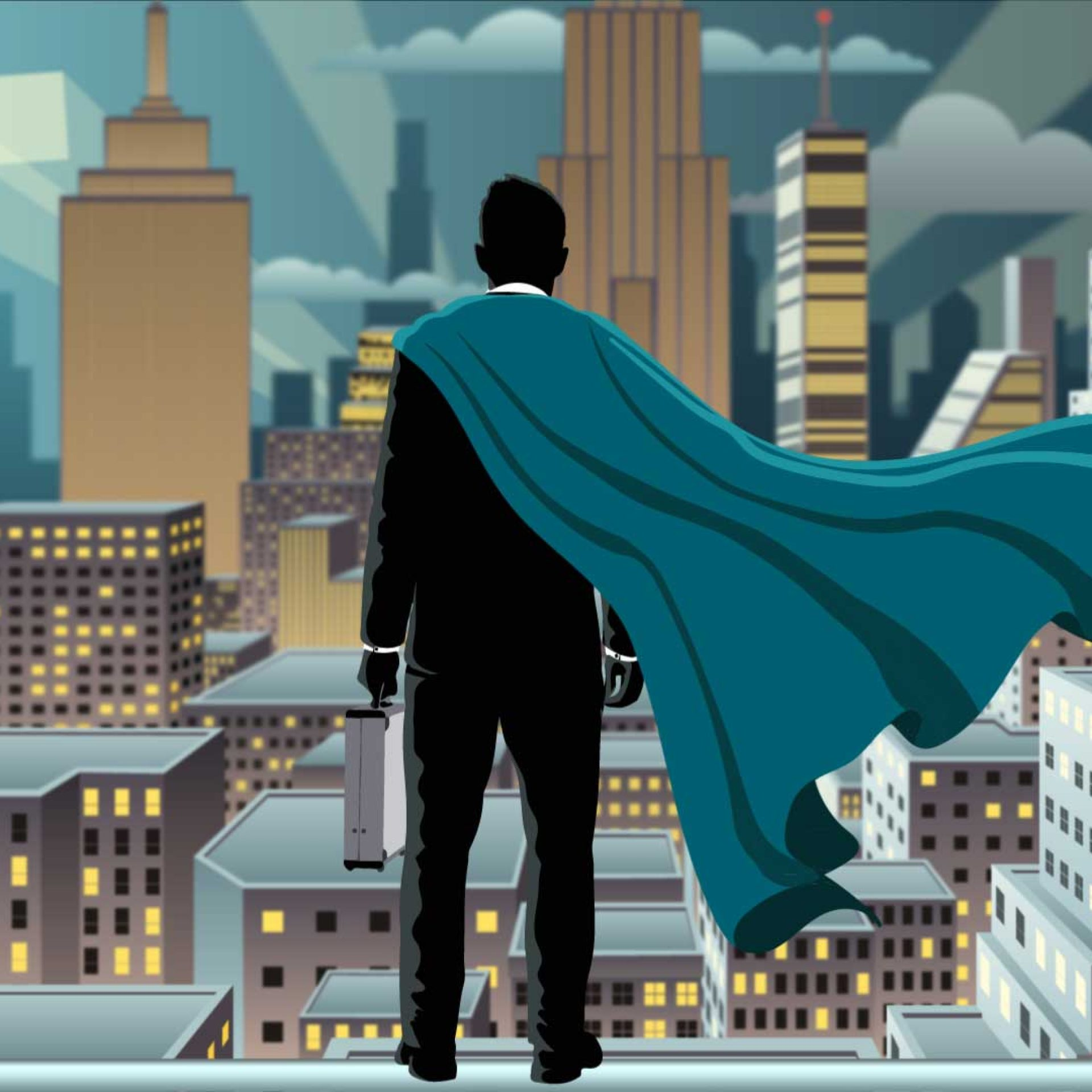 HHP Hero blickt über die Stadt